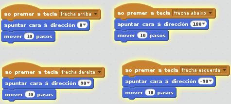 código para moverse coas frechas